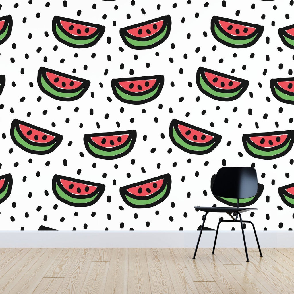 Watermelon wallpaper mural with a Black chair in front | WallpaperMural.com