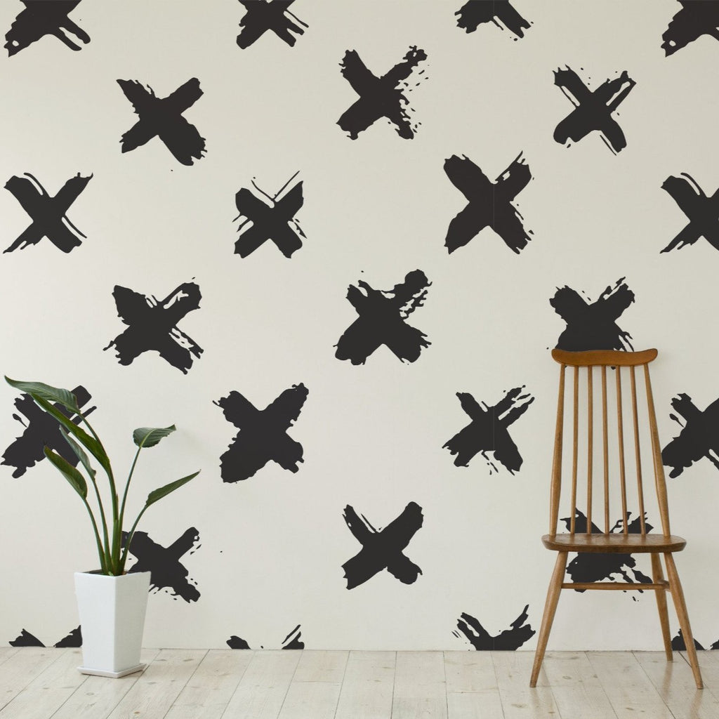 Xs (crosses) wallpaper mural with a wooden chair and plant in front | WallpaperMural.com