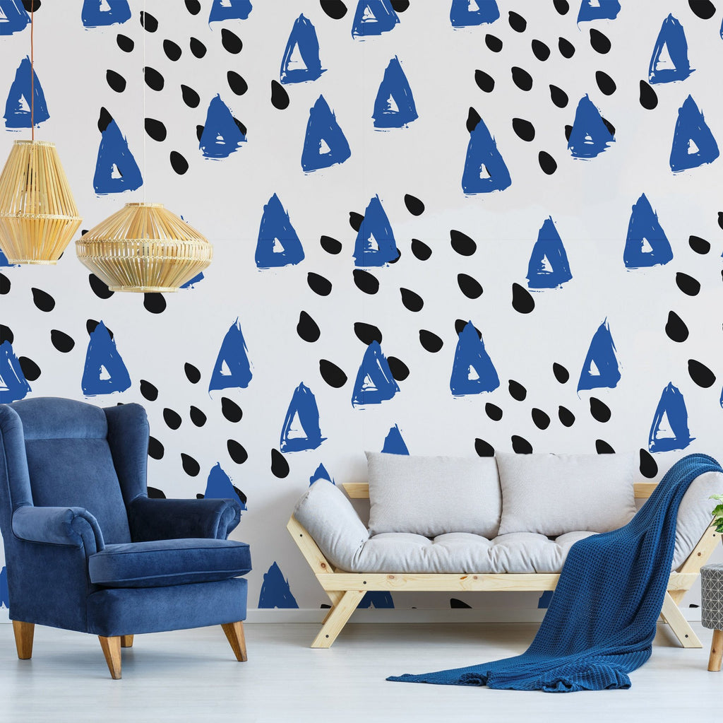 Zuly wallpaper mural in a Blue living room setting | WallpaperMural.com