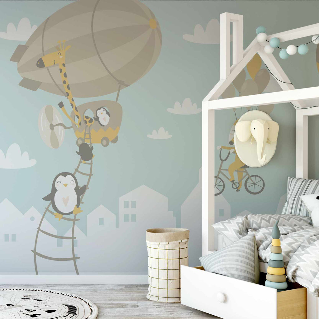 Aquaked wallpaper mural in a childs bedroom | WallpaperMural.com