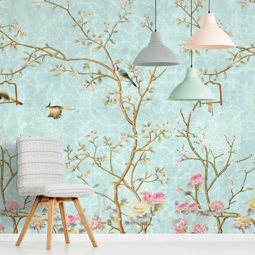 Hoddlen wallpaper mural with a chair in front | WallpaperMural.com
