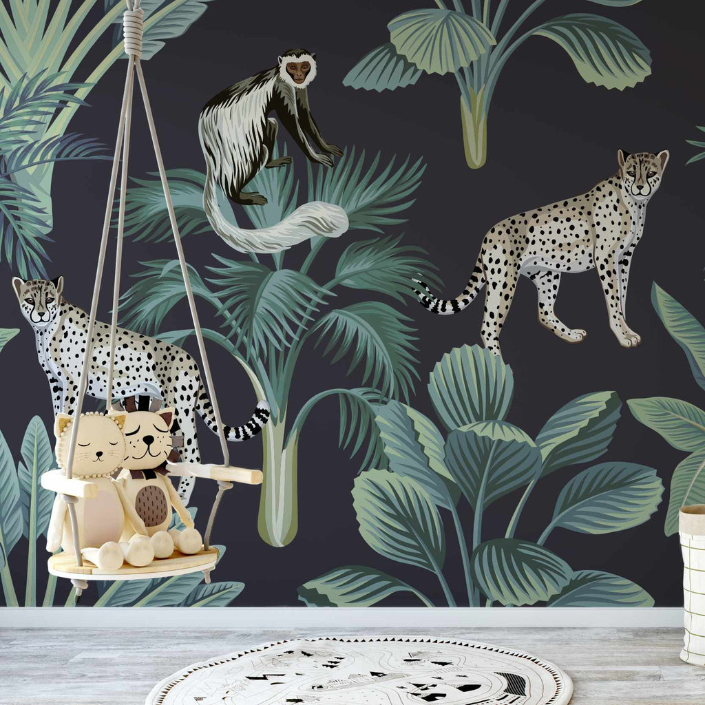 Huntive wallpaper mural with a childs swing | WallpaperMural.com