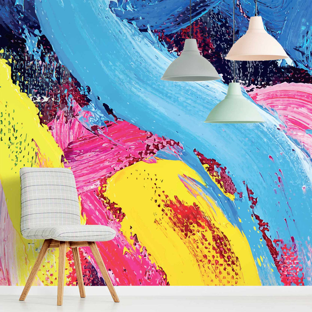 Idiost wallpaper mural with a chair in front | WallpaperMural.com