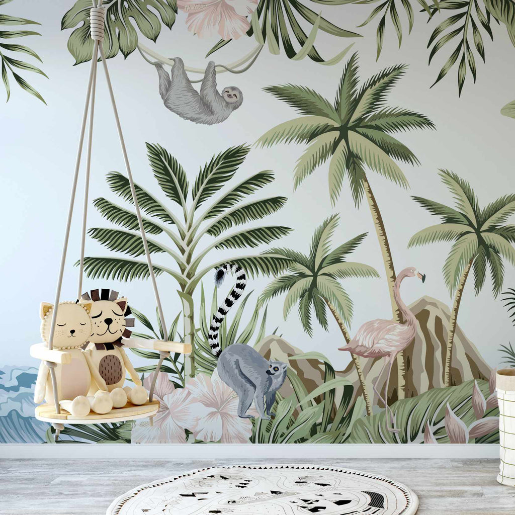 Pieral wallpaper mural with a childs swing | WallpaperMural.com