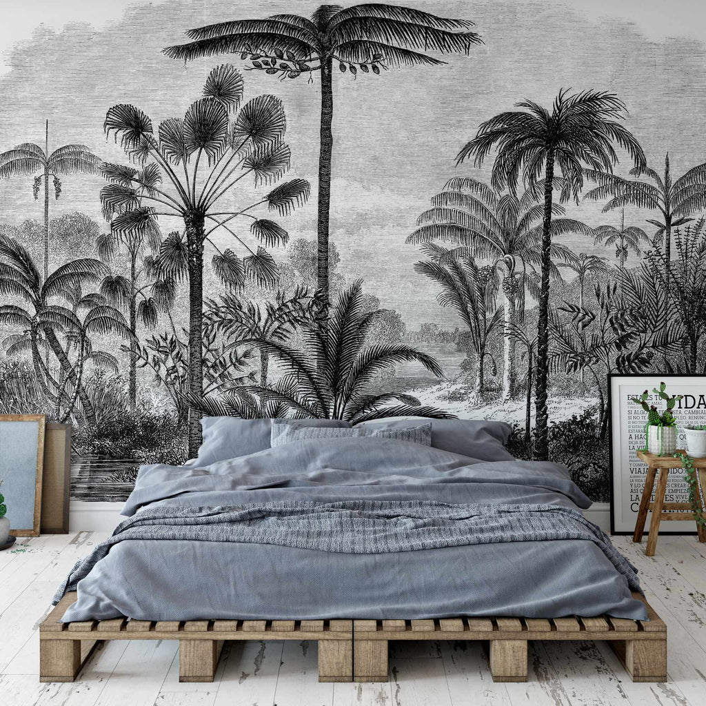 Arthur Wallpaper Mural with a wooden double bed in front. Mural by The Mural Wallpaper company
