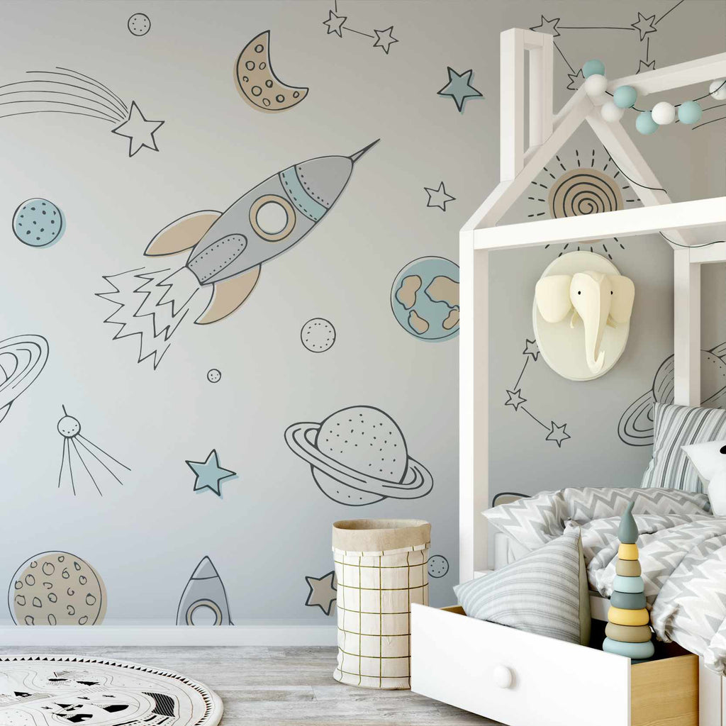 Wrigure wallpaper mural in a childs room | WallpaperMural.com