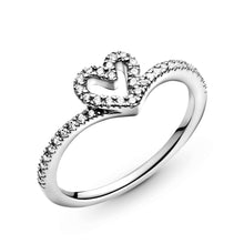 Load image into Gallery viewer, Sparkling Wishbone Heart Ring