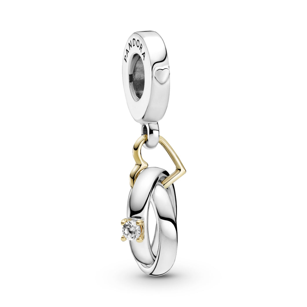Two-tone Wedding Rings Dangle Charm