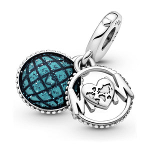 Glitter Globe Mum Dangle Charm