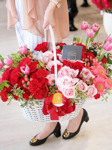 Eternal Red Charm Floral Basket