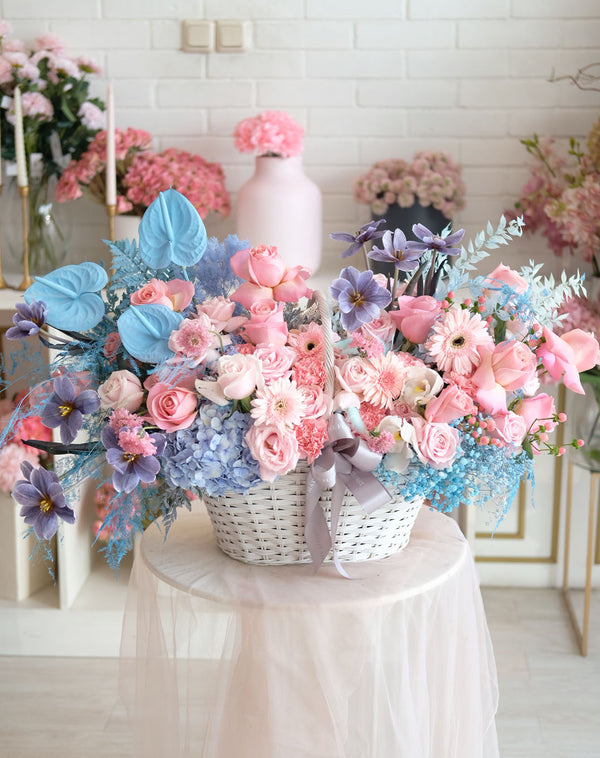 Pink Clouds Blooming Basket