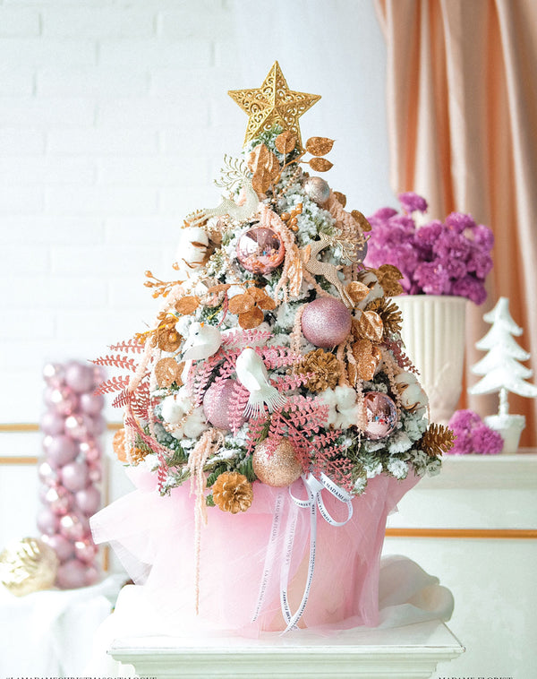 Blush and Rose Gold Christmas Tree