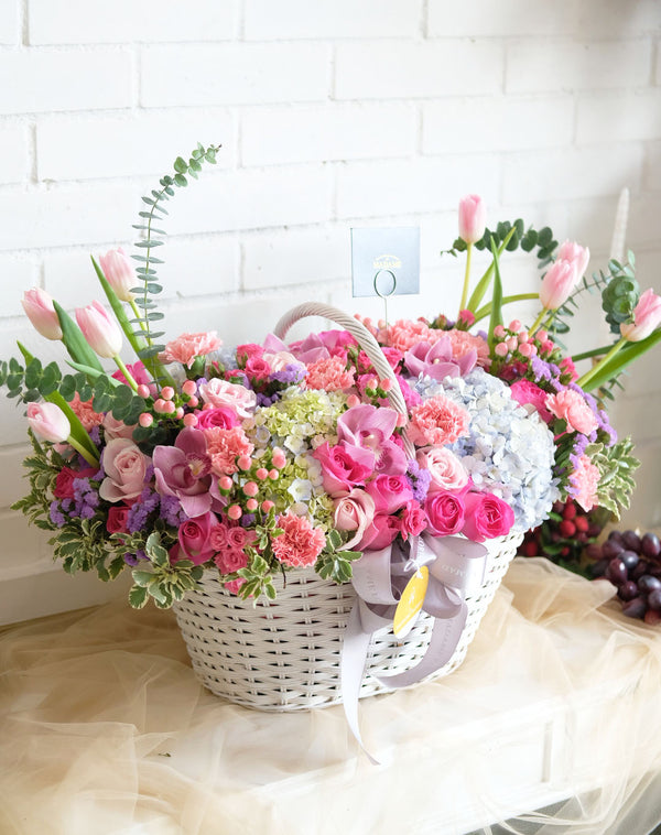 Whimsical Garden Floral Basket