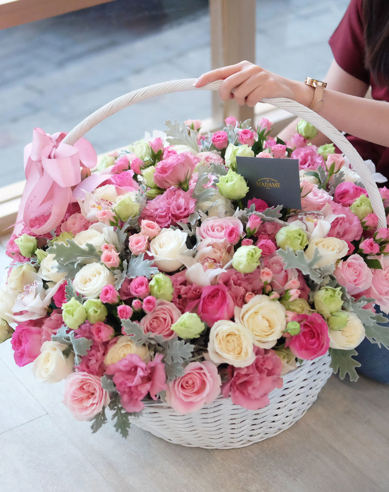 Luxury Magical Pink Garden Floral Basket