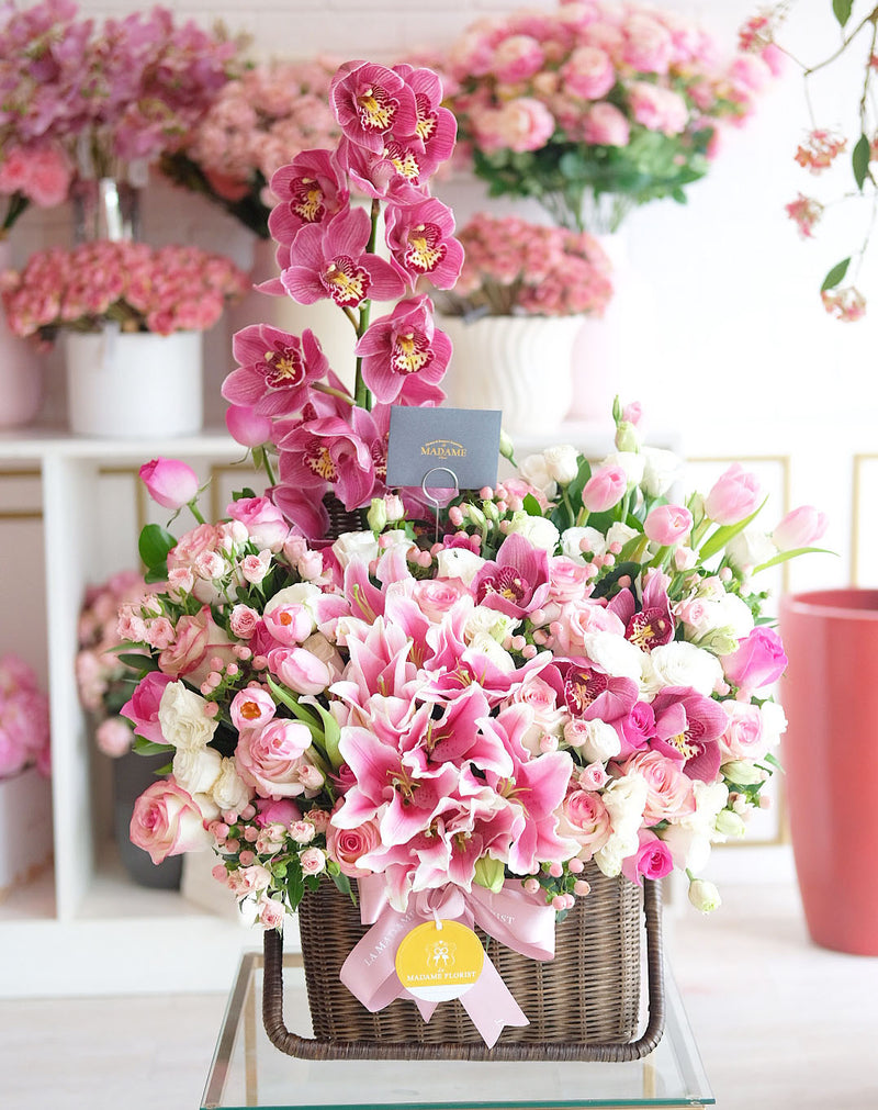 Pink Berry Radiance Floral Basket