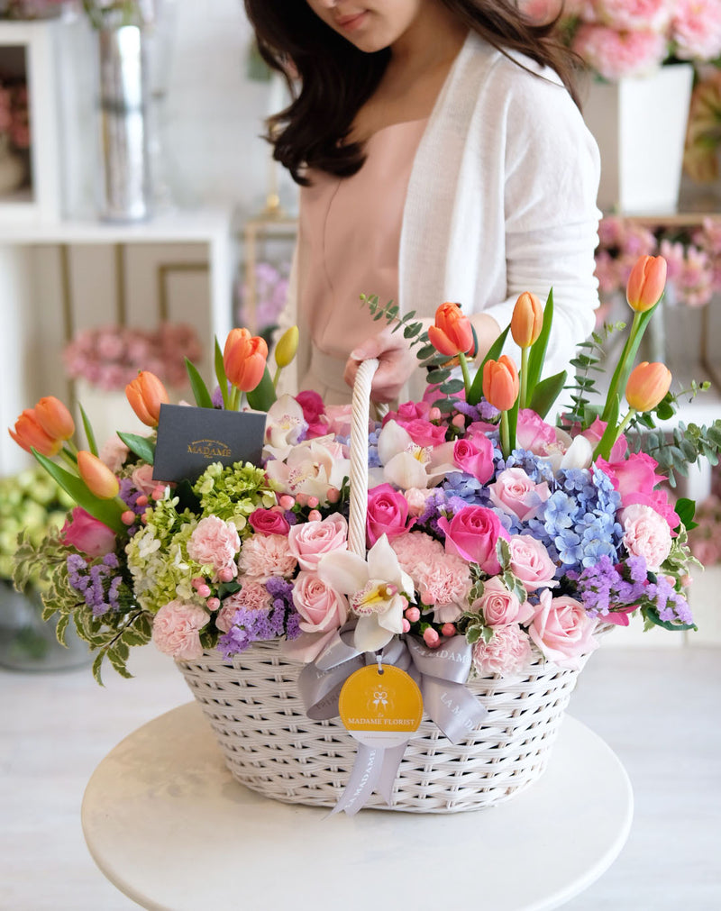 Creamy Pink Berry Floral Basket