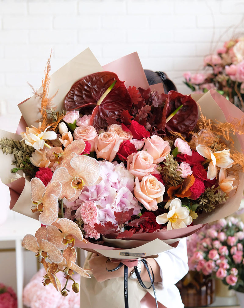 Burgundy and Peach Sola Bouquet