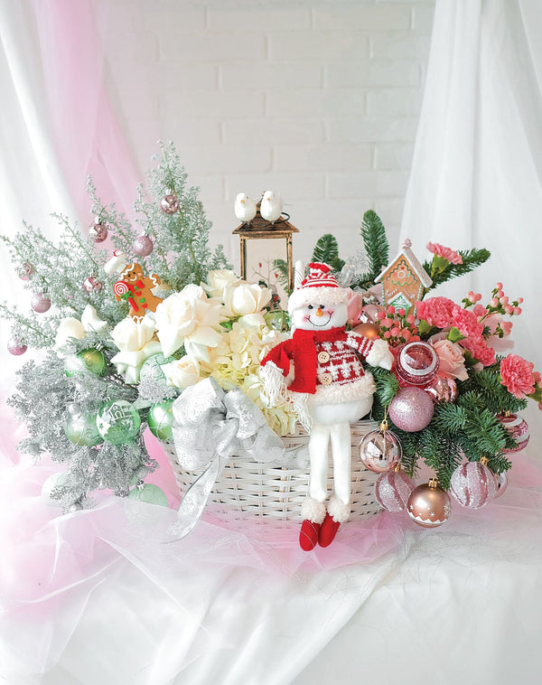 Frosty The Snowman Floral Basket