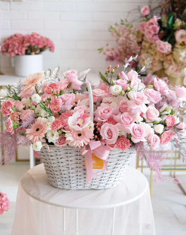 Sweet Pink Meringue Flower Basket
