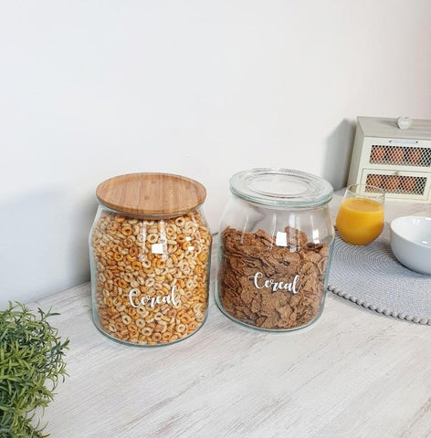 Large 3.3 Litre Glass Storage Jars with bamboo lids