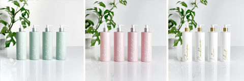 Kath and Kin Pump Dispenser Pottles, In Sage Green, Pink, and White and Gold