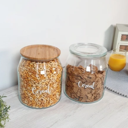 3.3 litre Glass Jars with Bamboo/glass Lid
