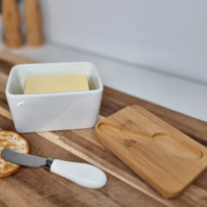 Porcelain Butter Dish with Knife