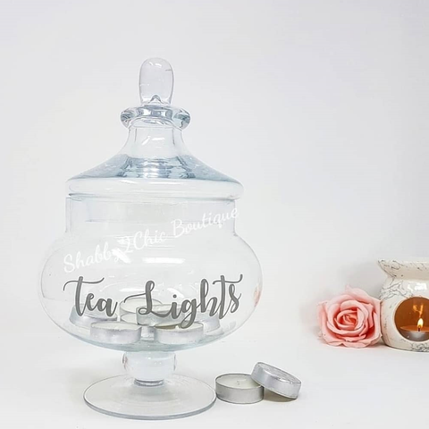 Decorative Glass Jar with Custom personalised wording.