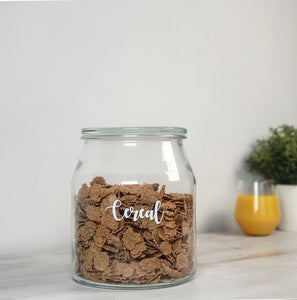 Large glass jars with bamboo or glass lids, with custom personalised wording
