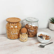 Load image into Gallery viewer, Large glass jars with bamboo or glass lids, with custom personalised wording