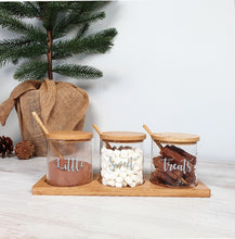 Load image into Gallery viewer, Set of 3 Glass Jar with Bamboo Lid, Spoon & Tray, with custom personal sable wording on the front, containing sweet treats.