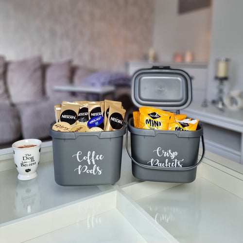 Recycled plastic carry caddies with lids and carry handles with custom personalised wording