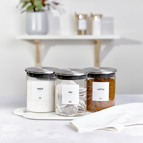 Kath and Kin Large Glass Jars with bamboo lids and custom personalised wording, part of the new contemporary collection