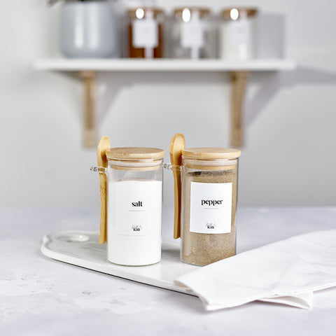 Kath and Kin Glass Jars with bamboo lids and serving spoons, and custom personalised wording, part of the new contemporary collection