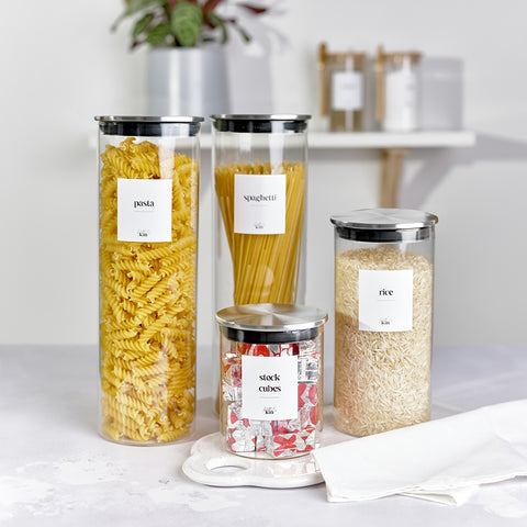 Kath and Kin Glass Jars with stainless steel lids and custom personalised wording, part of the new contemporary collection