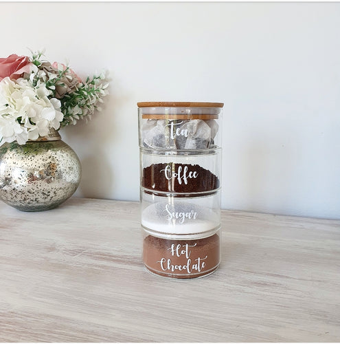 Small, stackable jars ideal for storing little sweet treats or hot drink supplies, with an airtight lid to keep things fresh.