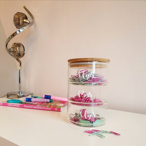 Small, stackable jars ideal for storing little bits and bobs