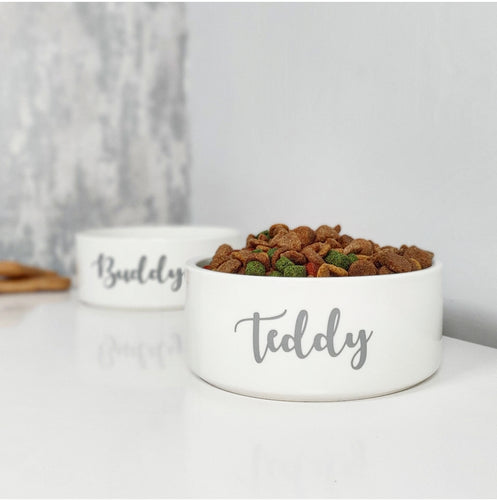 Henry Hinch pet bowl with personalised custom wording on the front of it for your pets name.