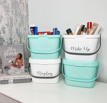 Load image into Gallery viewer, Stackable Storage caddy with handle, in mint green and white, with custom personalised wording.