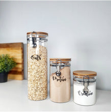 Load image into Gallery viewer, Three glass jars with custom personalised wording for labelling, showing all three sizes.