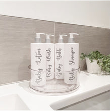 Load image into Gallery viewer, Four Reusable dispenser bottles in a lazy Susan with custom personalised wording.