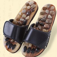 Foot Massage Shoes Cobblestone Jade Slippers Acupuncture Massager Foot Pain Relief Relaxation Pebbles Shoes Phisical Therapy