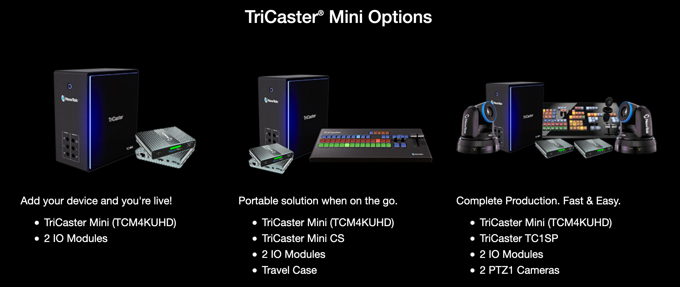 NewTek TriCaster Options