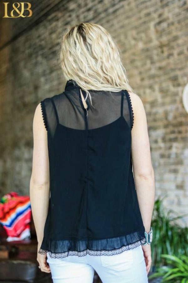 Black Sleeveless Top with Ruffle Trim