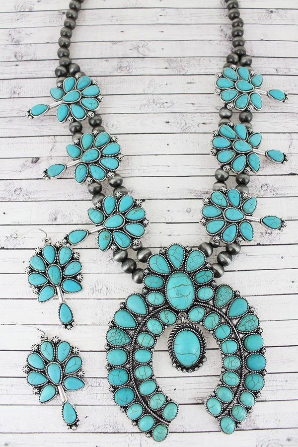 Turquoise Squash Blossom Necklace-Earring Set