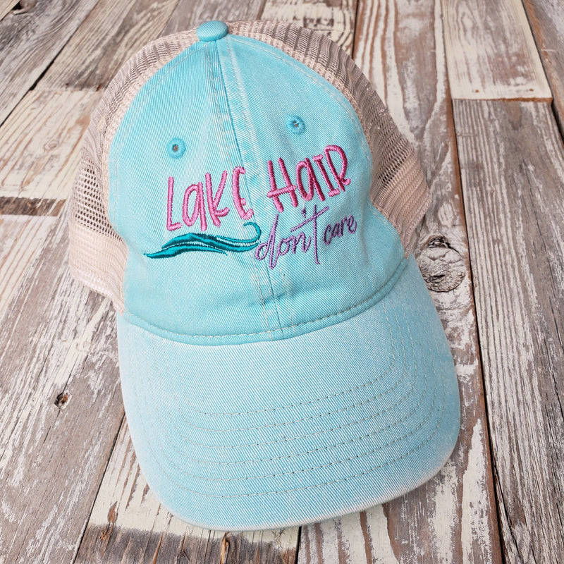 Lake Hair Don't Care Embroidered Trucker Hat