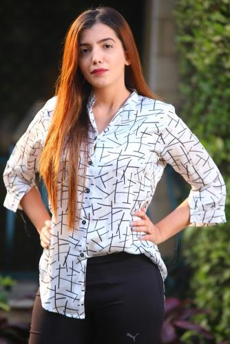DIGITAL PRINT BLACK LINING SILK SHIRT (CC-121)