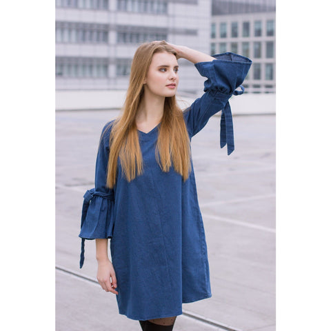 Back Zipper Bell Flare Sleeves Denim Top - Chilgozay Clothing