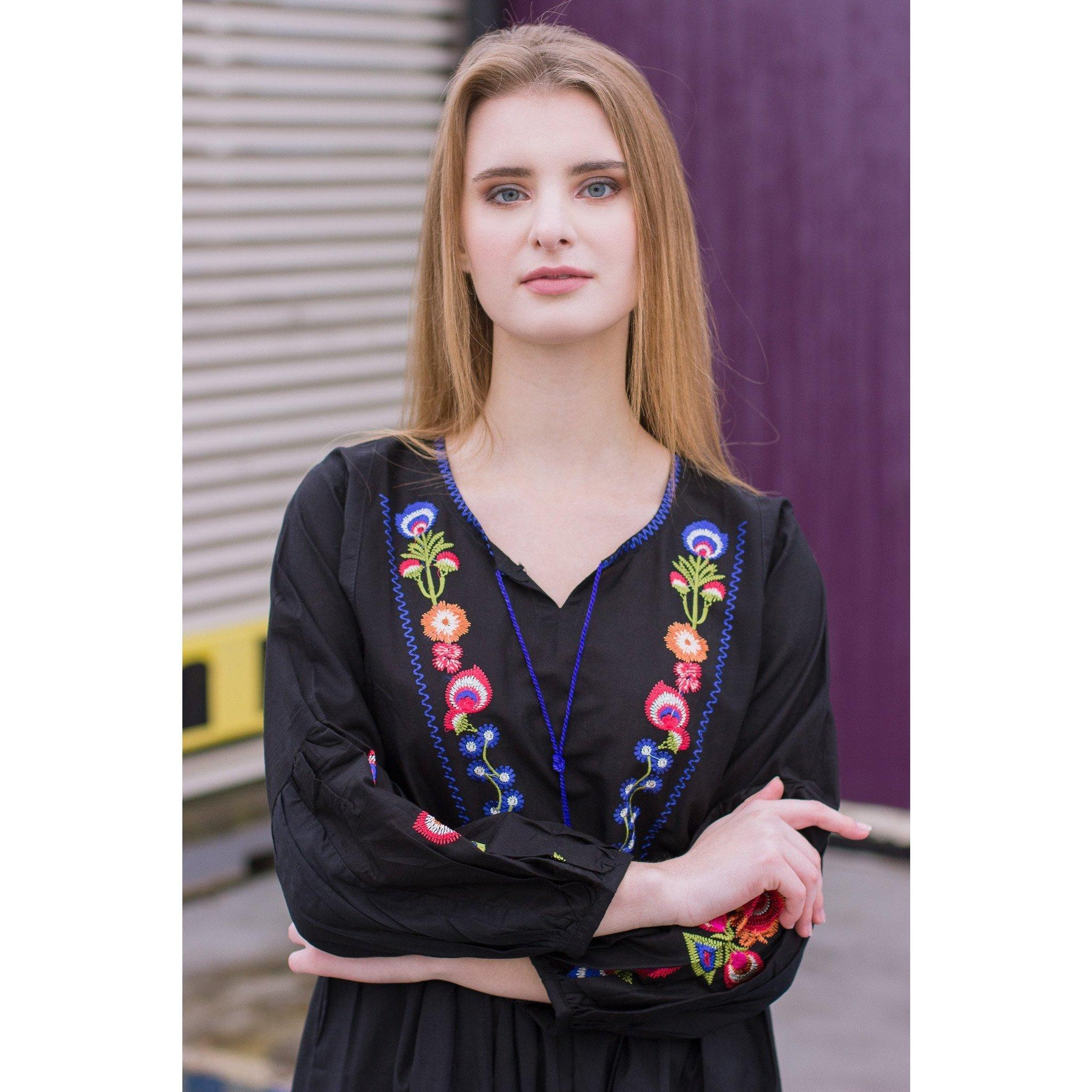 Black Multi Embroidery Peplum - Chilgozay Clothing