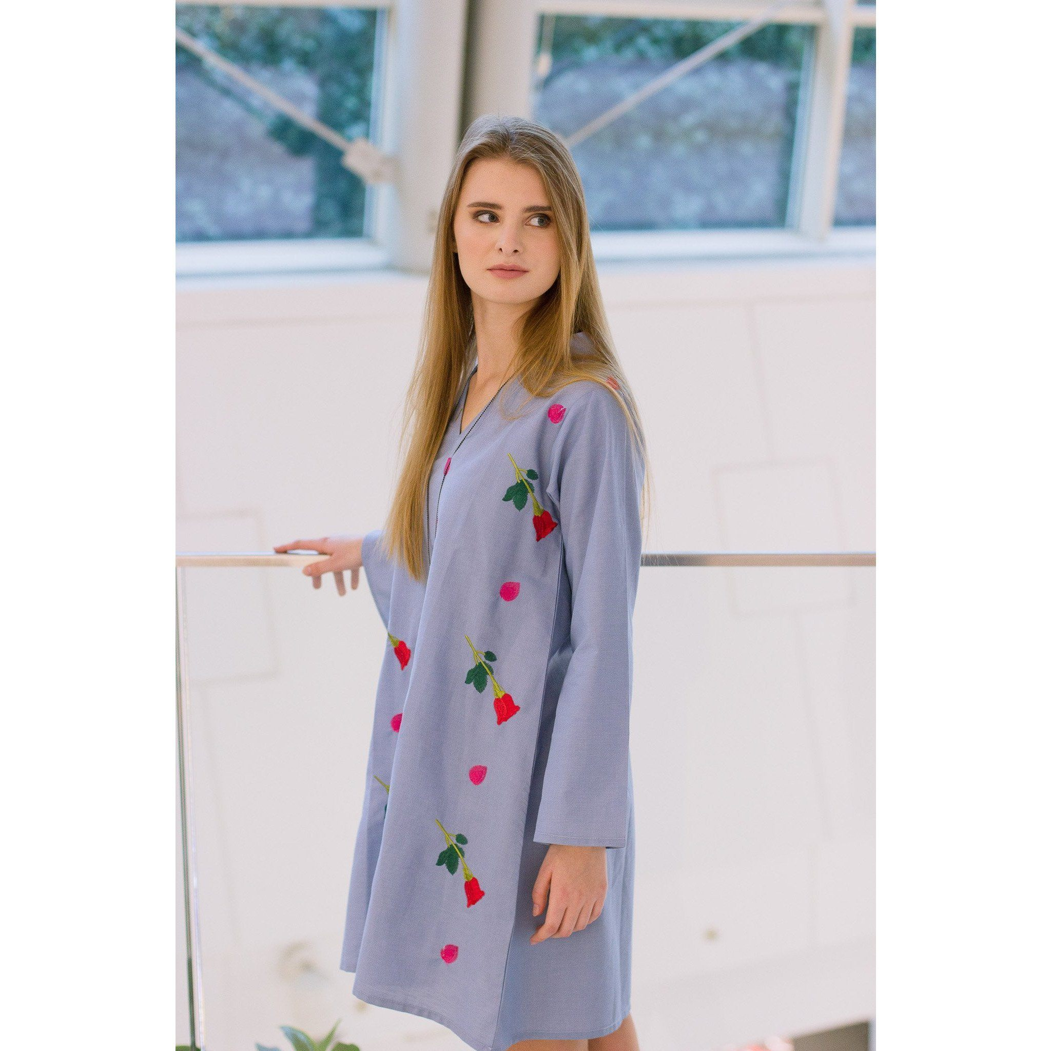 A Line Rose n Patel Embroidery Soft Denim Shirt - Chilgozay Clothing